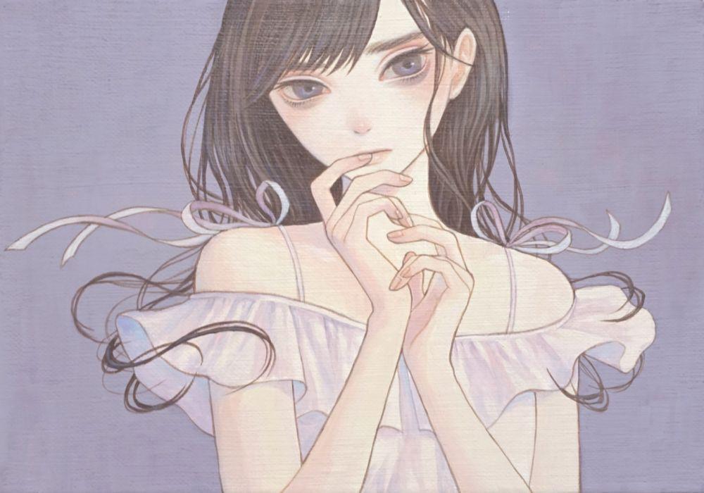 girls manga blue eyes dress long hair wallpaper