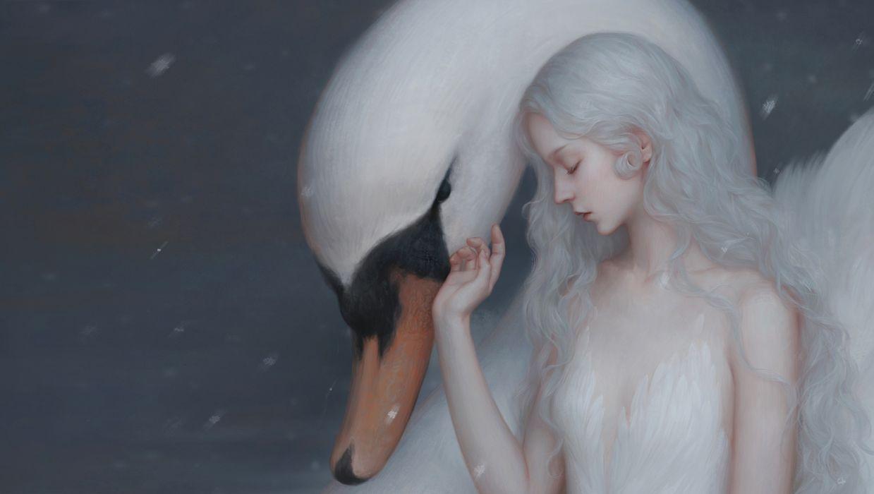 girl beauty long hair white swan fantasy woman wallpaper