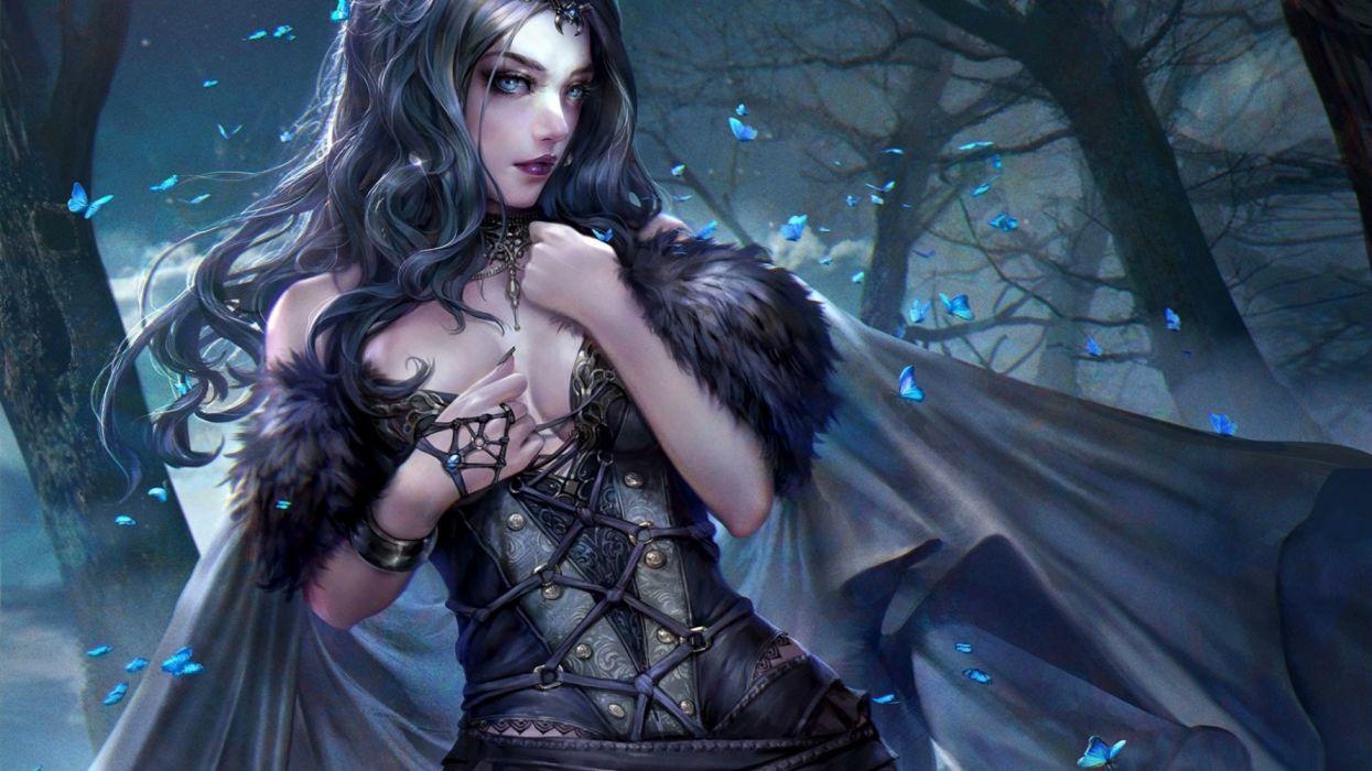 fantasy woman beauty dress long hair butterlfy blue wallpaper
