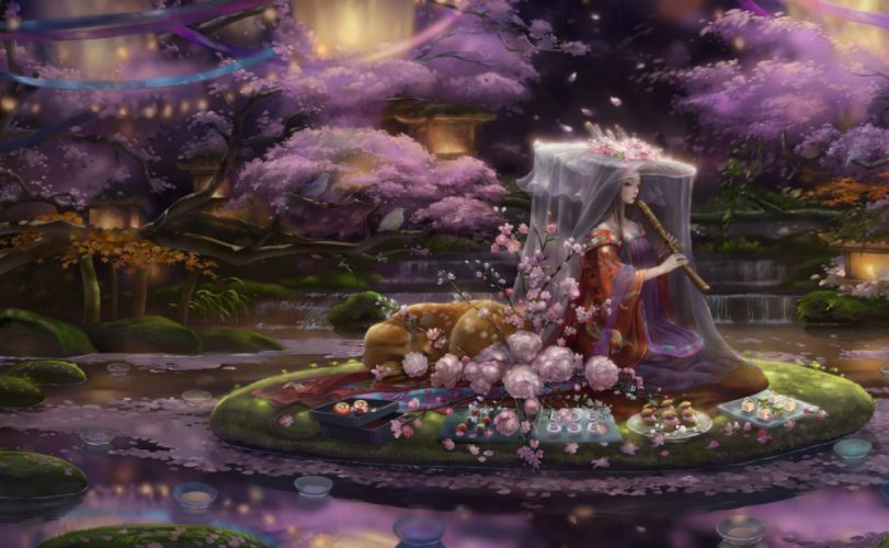 fantasy woman music flower dress long hair beautiful wallpaper
