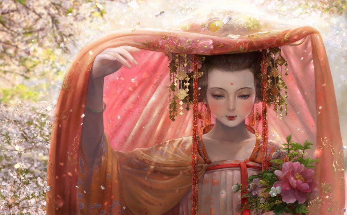 fantasy woman beautiful dress blue eyes flower wallpaper