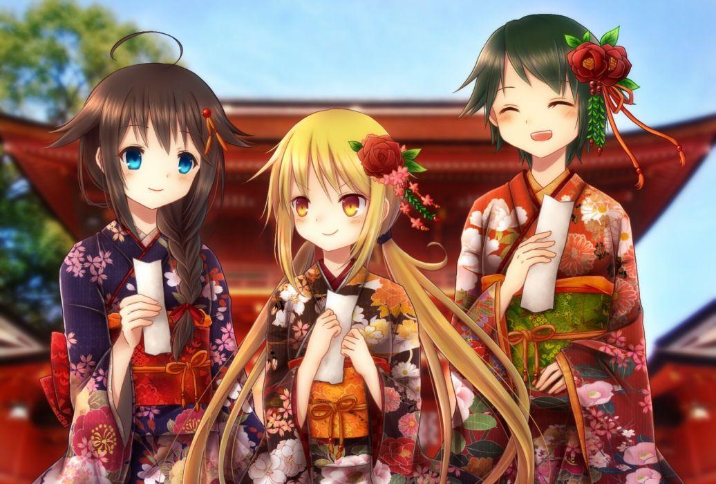 anime girls sky objects flowers wallpaper