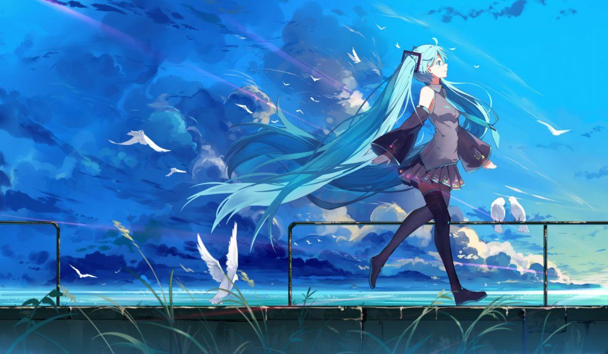 anime water girls sky nature birds wallpaper