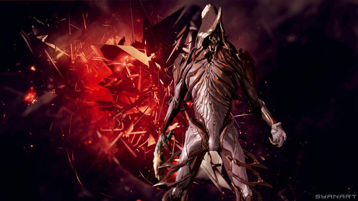 WARFRAME shooter tps action sci-fi futuristic technics warrior armor robot cyborg wallpaper