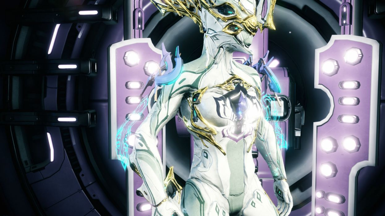WARFRAME shooter tps action sci-fi futuristic technics warrior armor robot cyborg wallpaper
