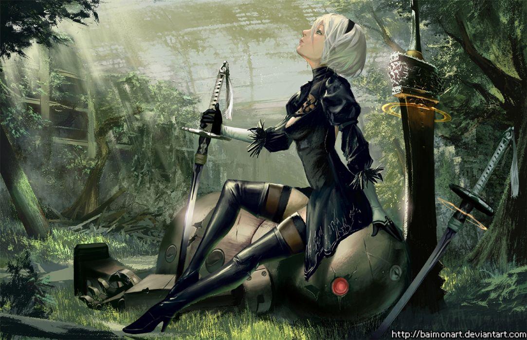 video juego nier automata cyborg guerrera wallpaper