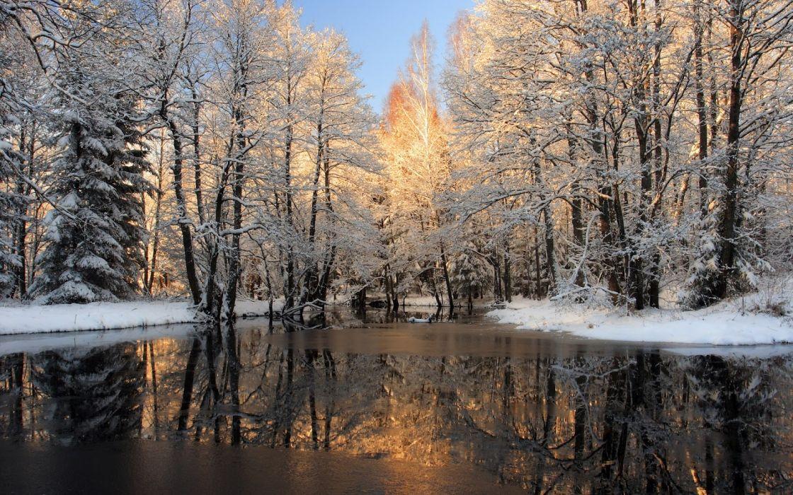 Paisaje -Invierno lago helado naturaleza wallpaper