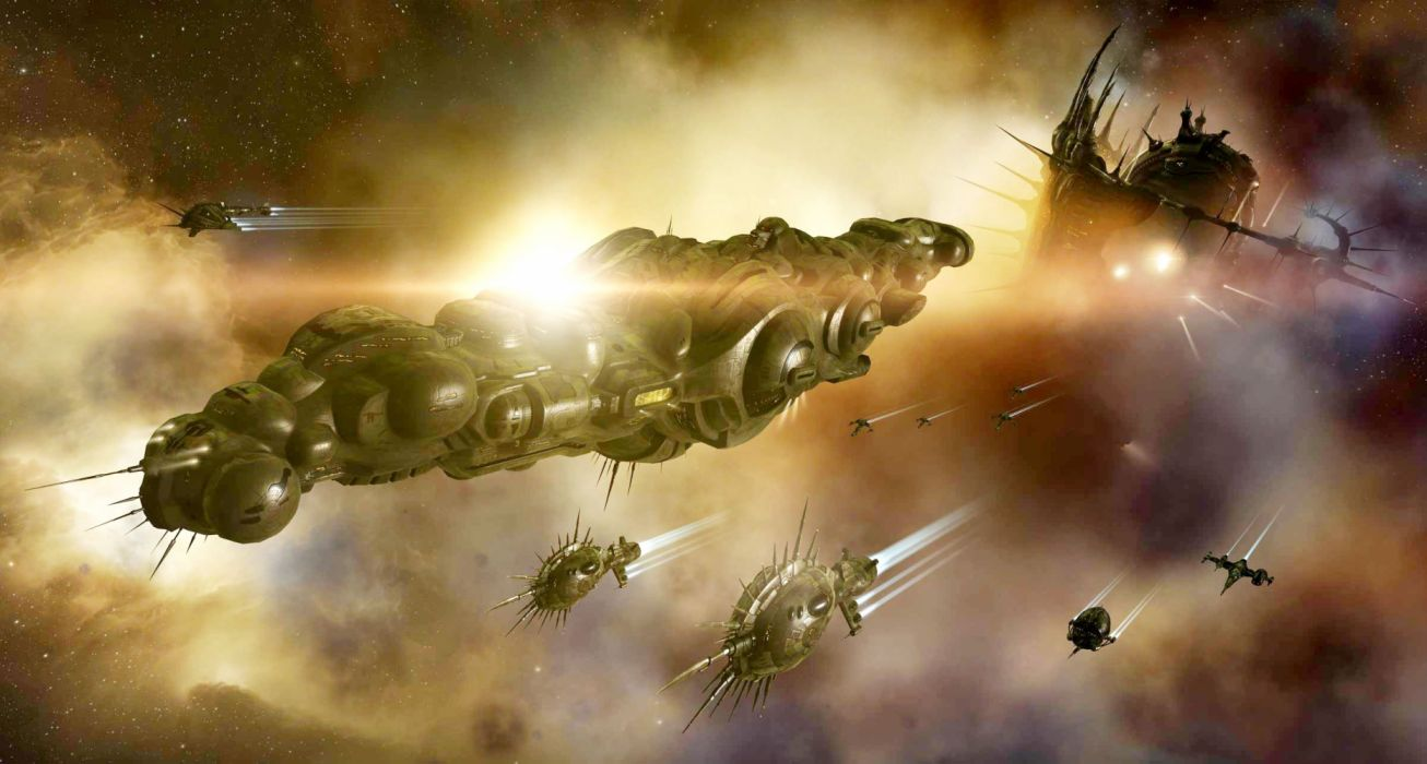 EVE ONLINE space combat action fighting futuristic spaceship sci-fi shooter mmo tactical strategy mmo online technics battleship warship wallpaper