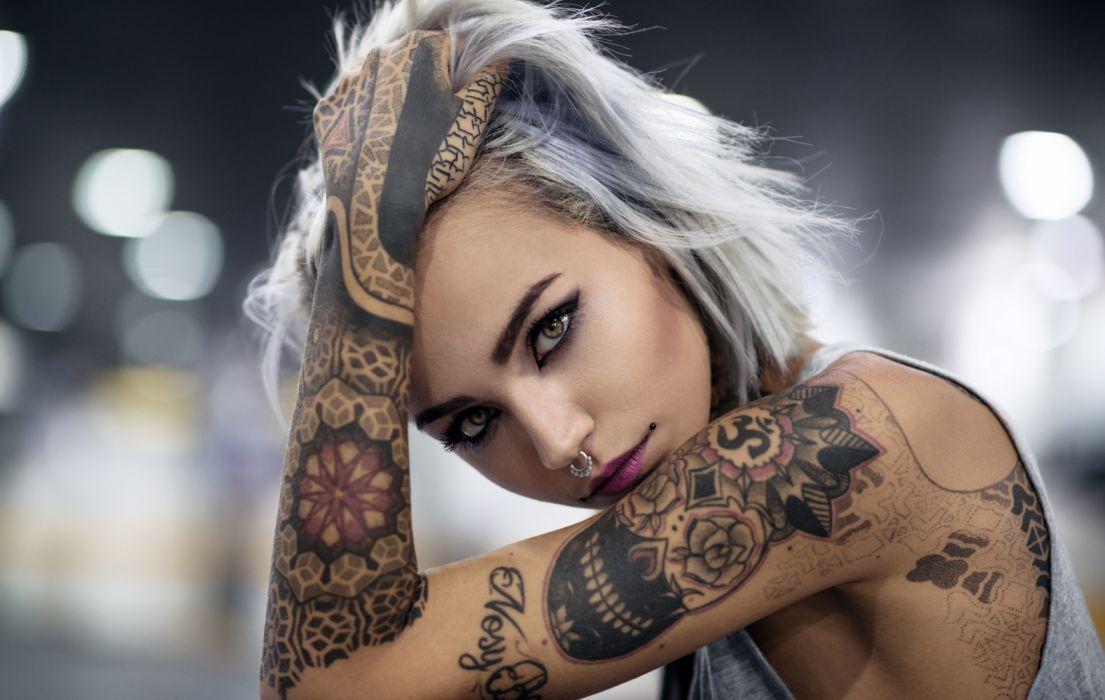 woman female tattoo white hair beautiful wallpaper