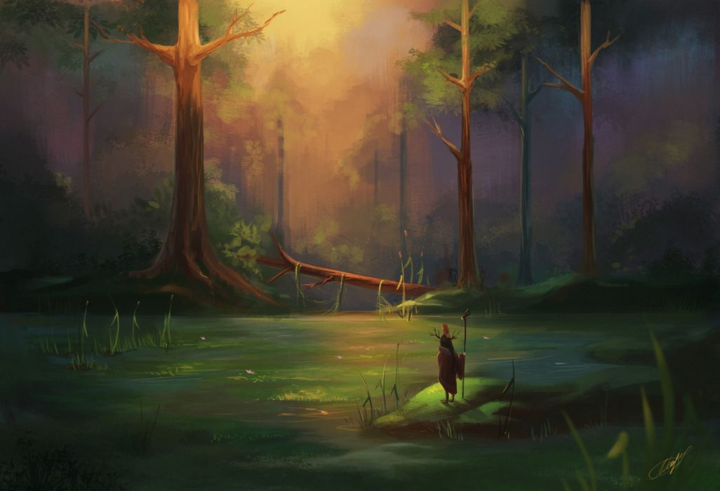 water trees people objects nature drawings fantasy flowers wallpaper