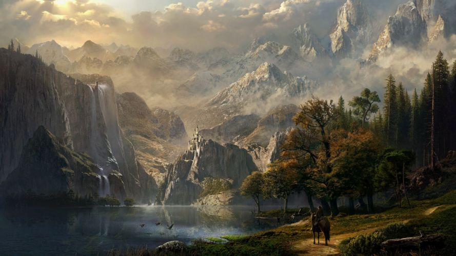 water mountains girls houses horses sky nature figures fantasy wallpaper