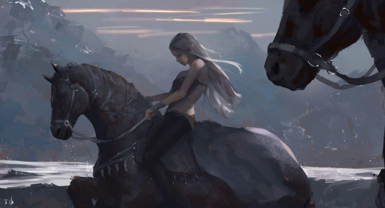 water mountains girls animals horses sky nature widescreen elves wallpaper