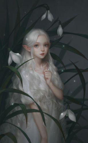white smile fantasy flower girl beauty dress long hair wallpaper