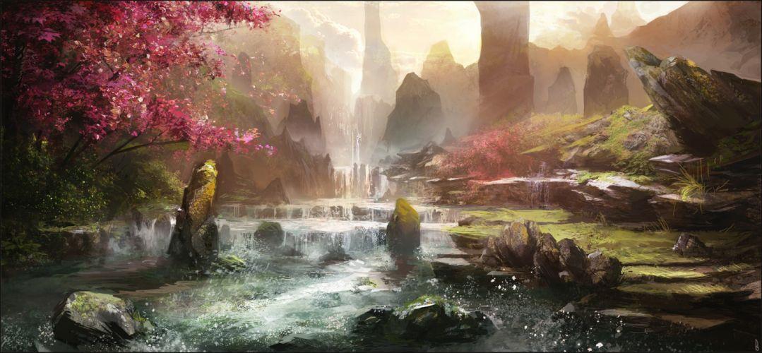 water trees nature drawings fantasy wallpaper