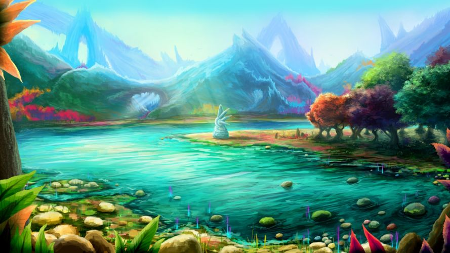 water mountains trees nature figures fantasy wallpaper