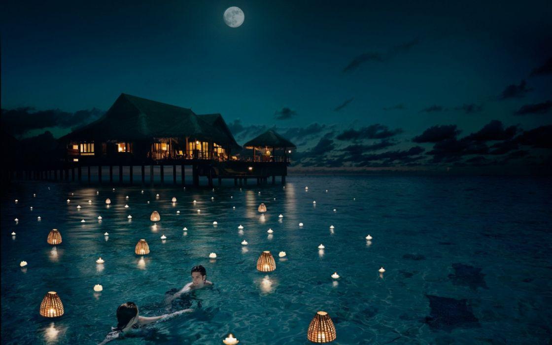 water girls houses moon men sky night fire wallpaper