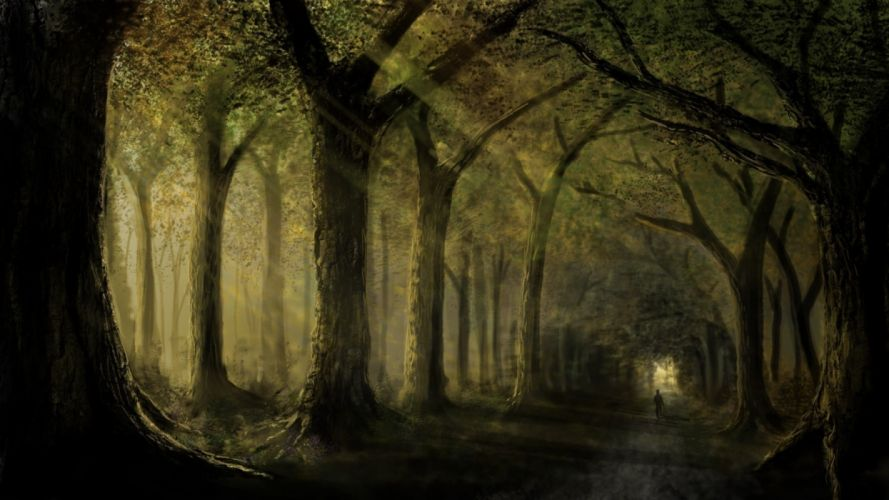 trees road forest men nature drawings wallpaper