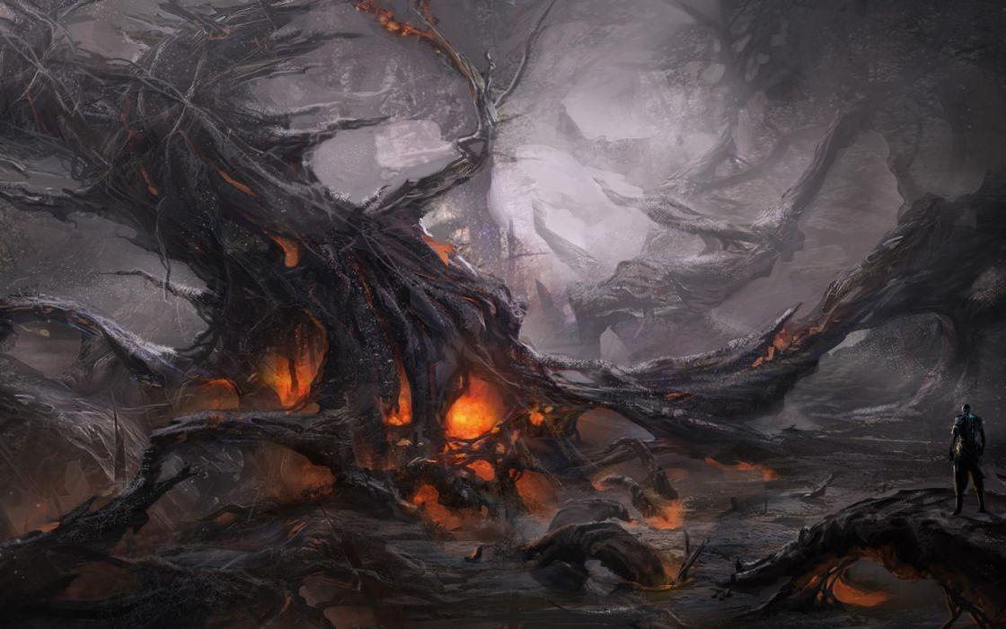 trees men fire nature drawings fantasy wallpaper