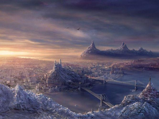 water city mountains houses bridges sky birds figures fantasy wallpaper