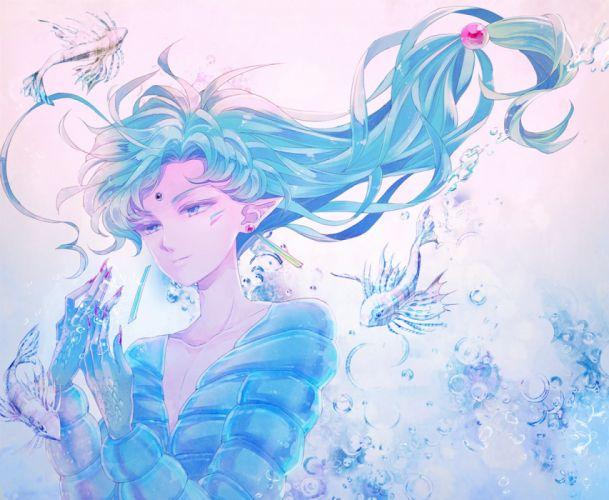 sailormoon anime eyes men underwater objects fish fantasy elves wallpaper