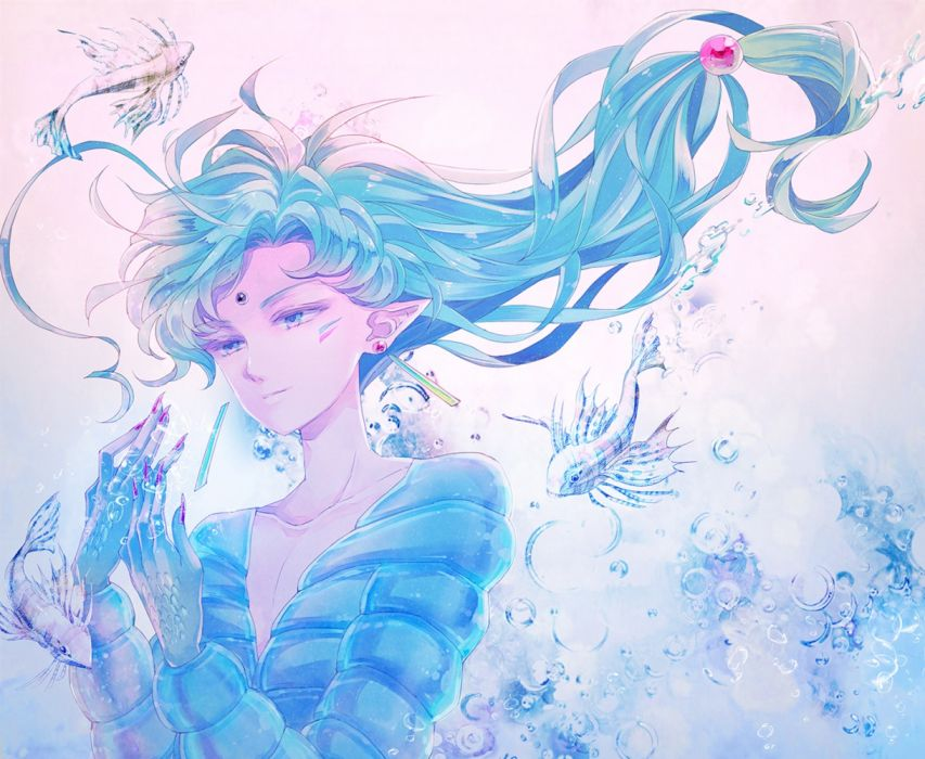 sailormoon anime eyes men underwater objects fish fantasy elves wallpaper