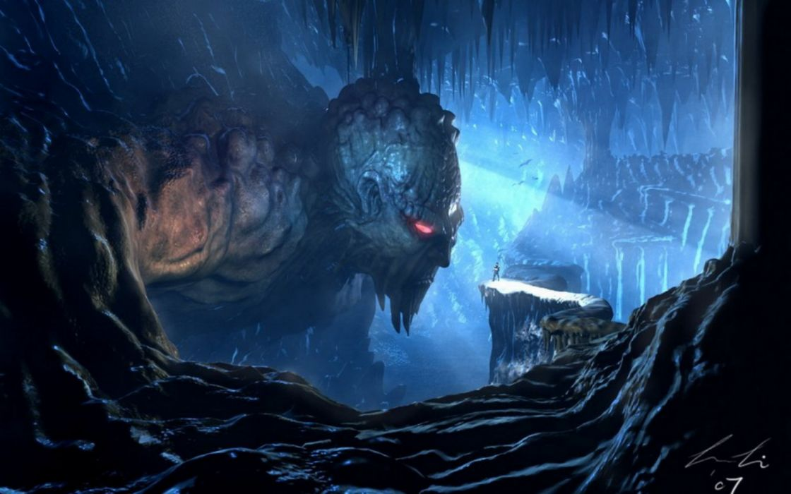 mountains monsters drawings fantasy wallpaper