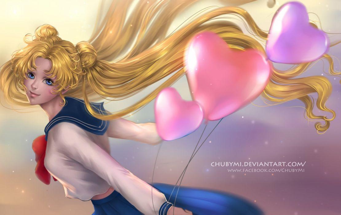 long hair usagi blonde bishoujo senshi sailor moon anime girl character beautiful wallpaper