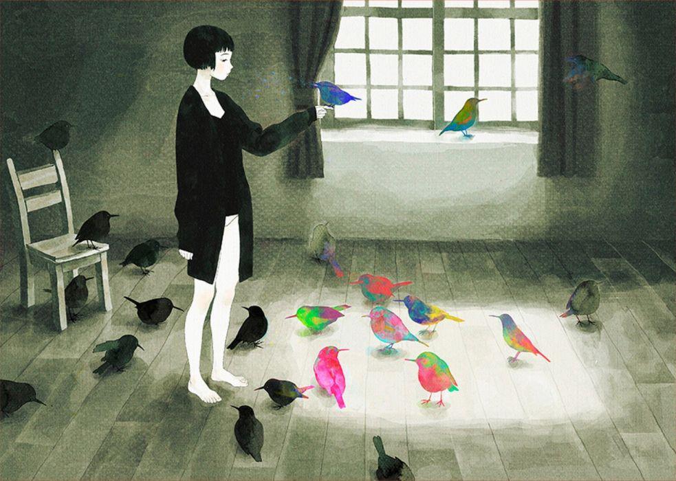 interior birds drawings wallpaper