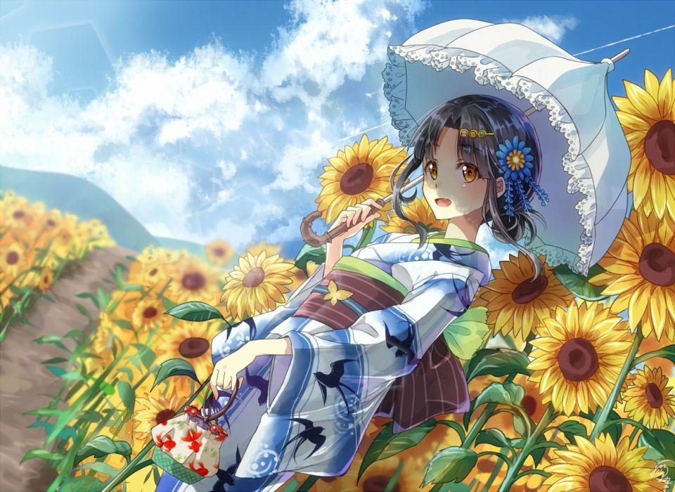 girls summer sky objects nature figures flowers wallpaper