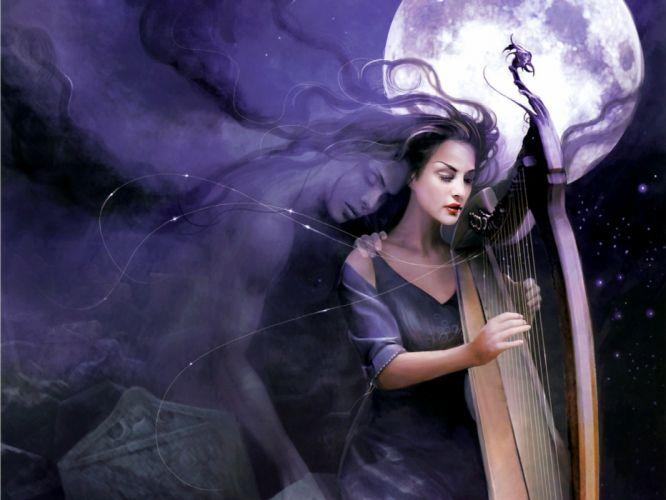 girls moon men music sky night objects drawings fantasy wallpaper