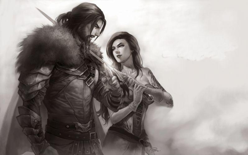 girls military men drawings fog fantasy black and white wallpaper