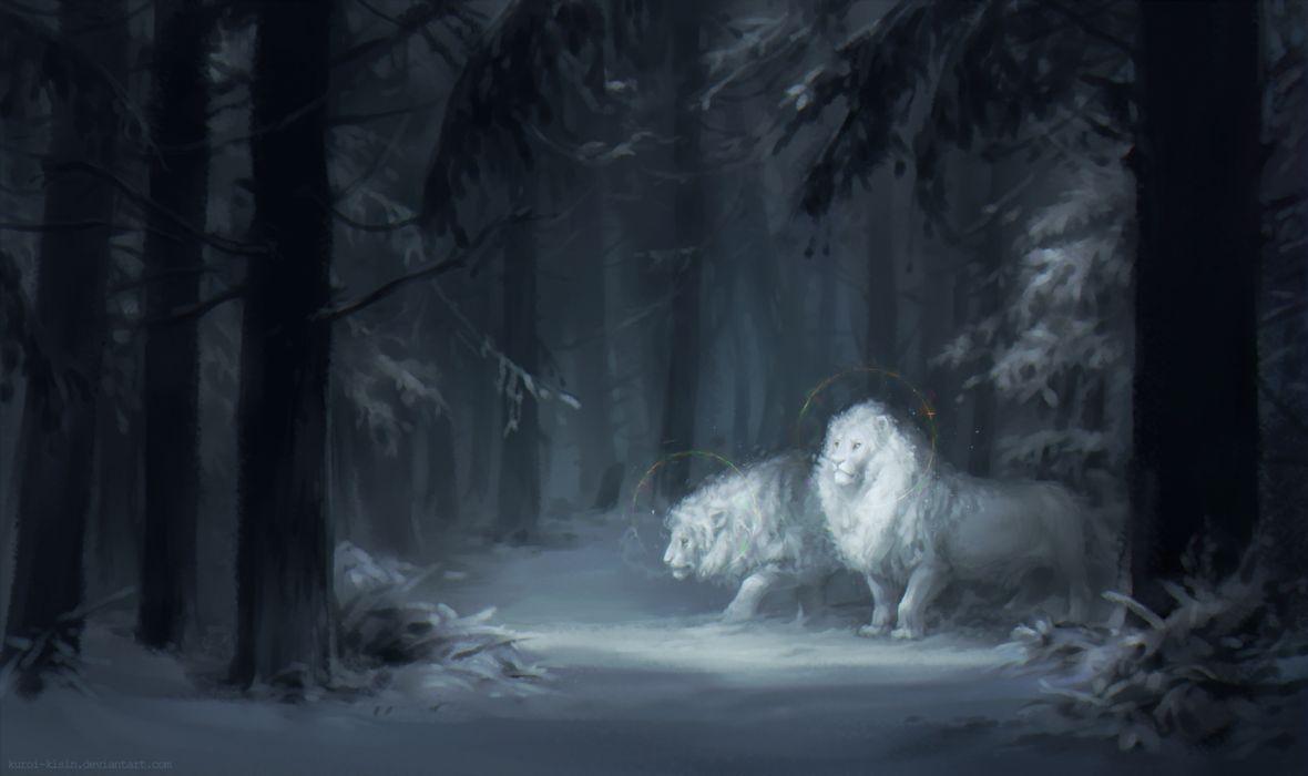 leon white animal forest beauty fantasy wallpaper