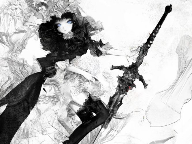 girls manga military objects drawings fantasy black and white wallpaper