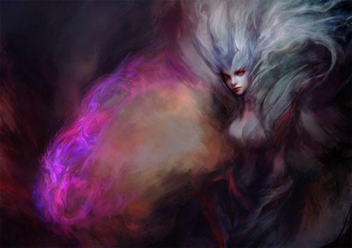 fantasy woman face beautiful red eyes wallpaper