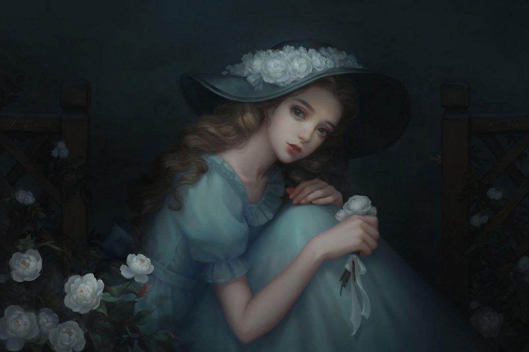 fantasy flower girl beauty dress long hair blue wallpaper