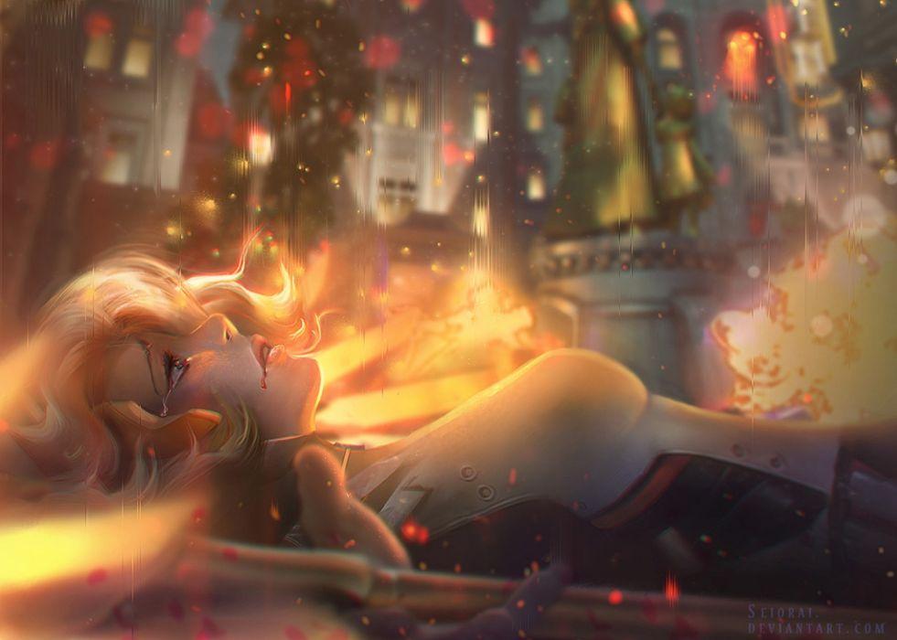 fantasy woman face beautiful city angel wallpaper