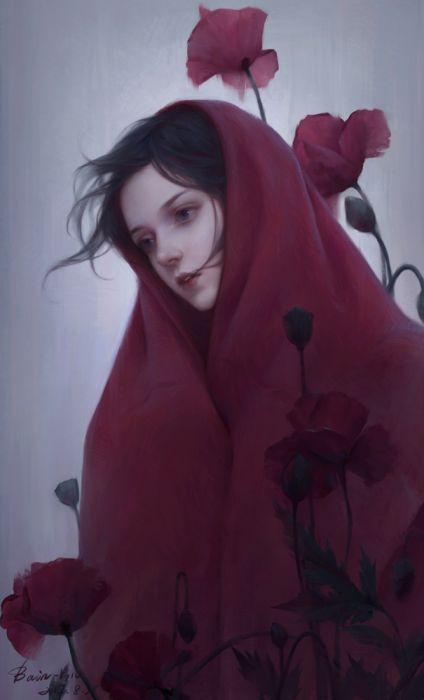 fantasy flower girl beauty dress long hair red wallpaper