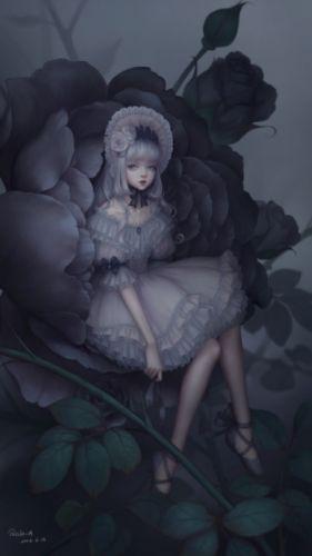fantasy flower girl beauty dress long hair original beautiful wallpaper
