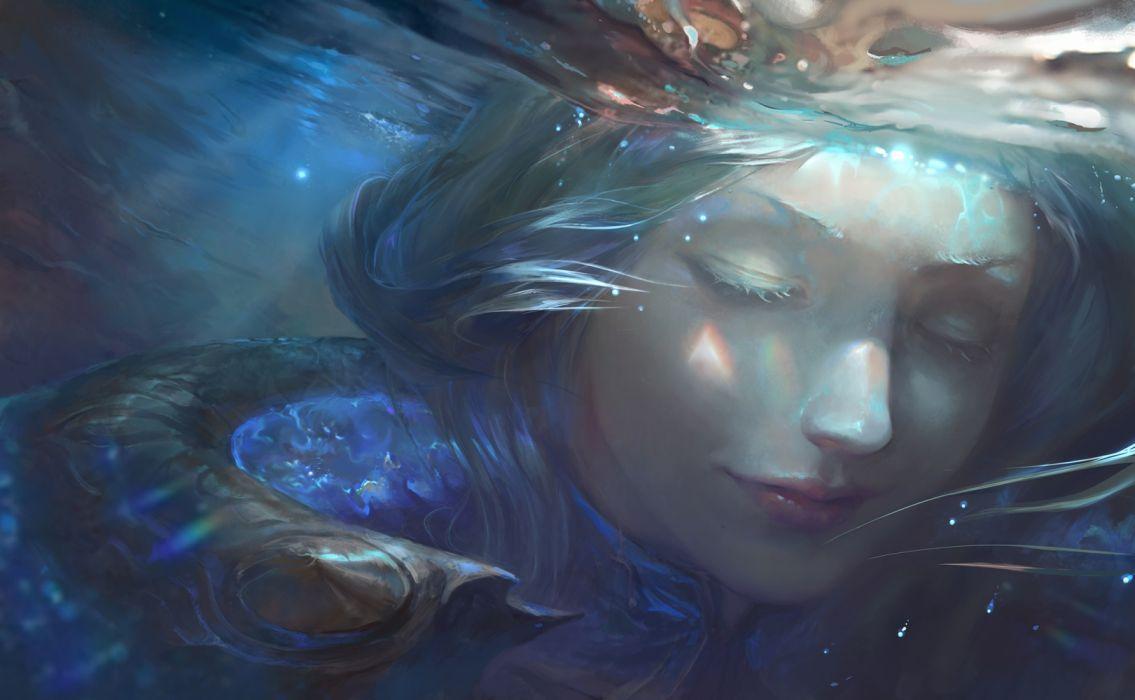fantasy woman face beautiful blue hair wallpaper
