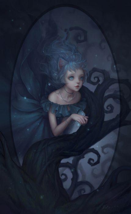 fantasy girl beauty dress long hair blue wallpaper