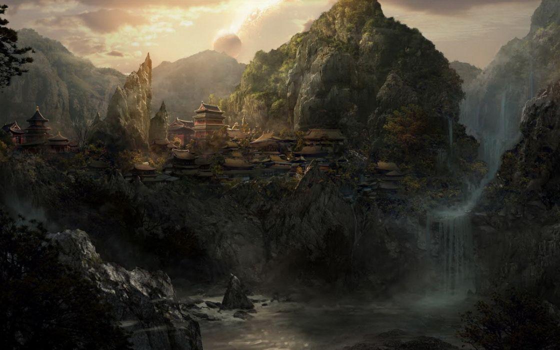 fantasy landscape forest tree mountain city wallpaper
