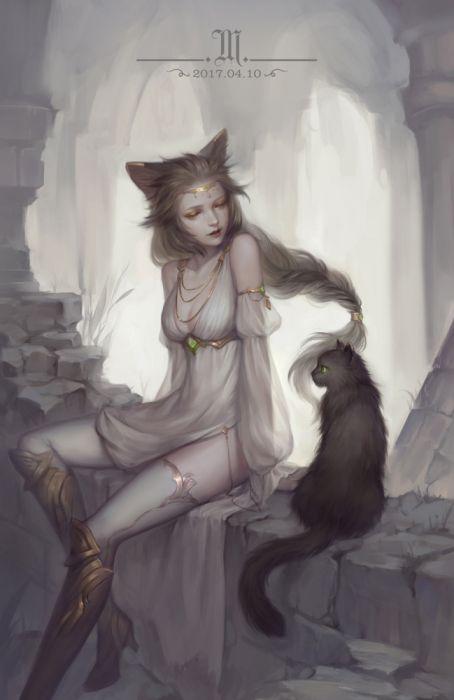 cat woman fantasy girl beauty dress long hair original beautiful wallpaper