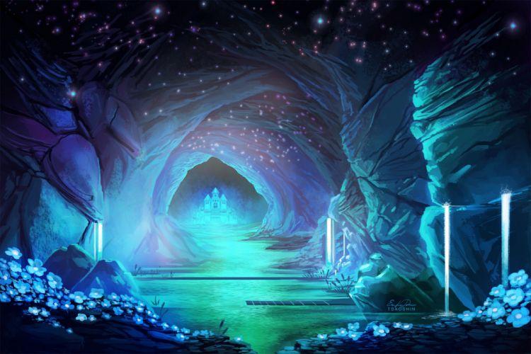 fantasy city beauty flower blue wallpaper