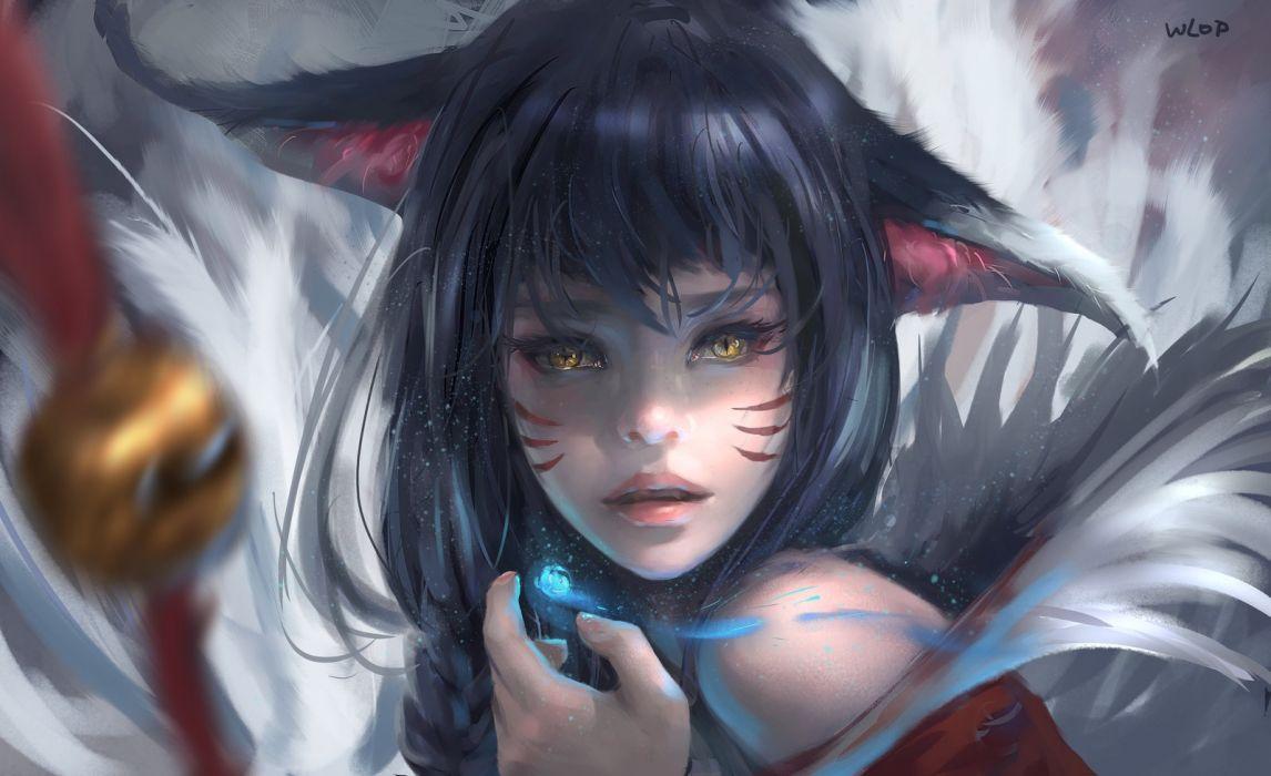 fantasy woman face beautiful cat girl wallpaper
