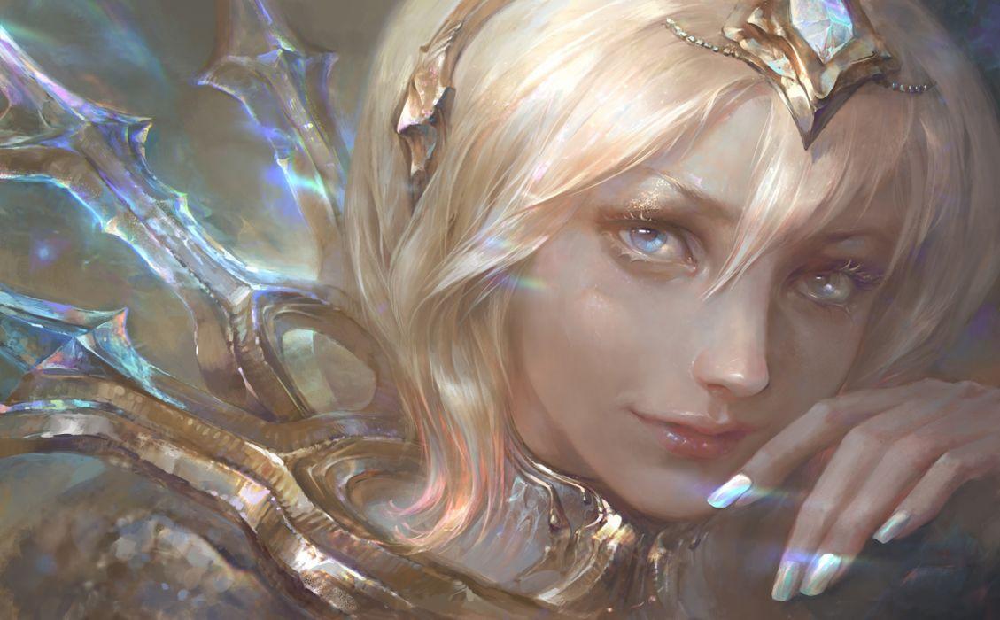 fantasy woman face beautiful blonde wallpaper