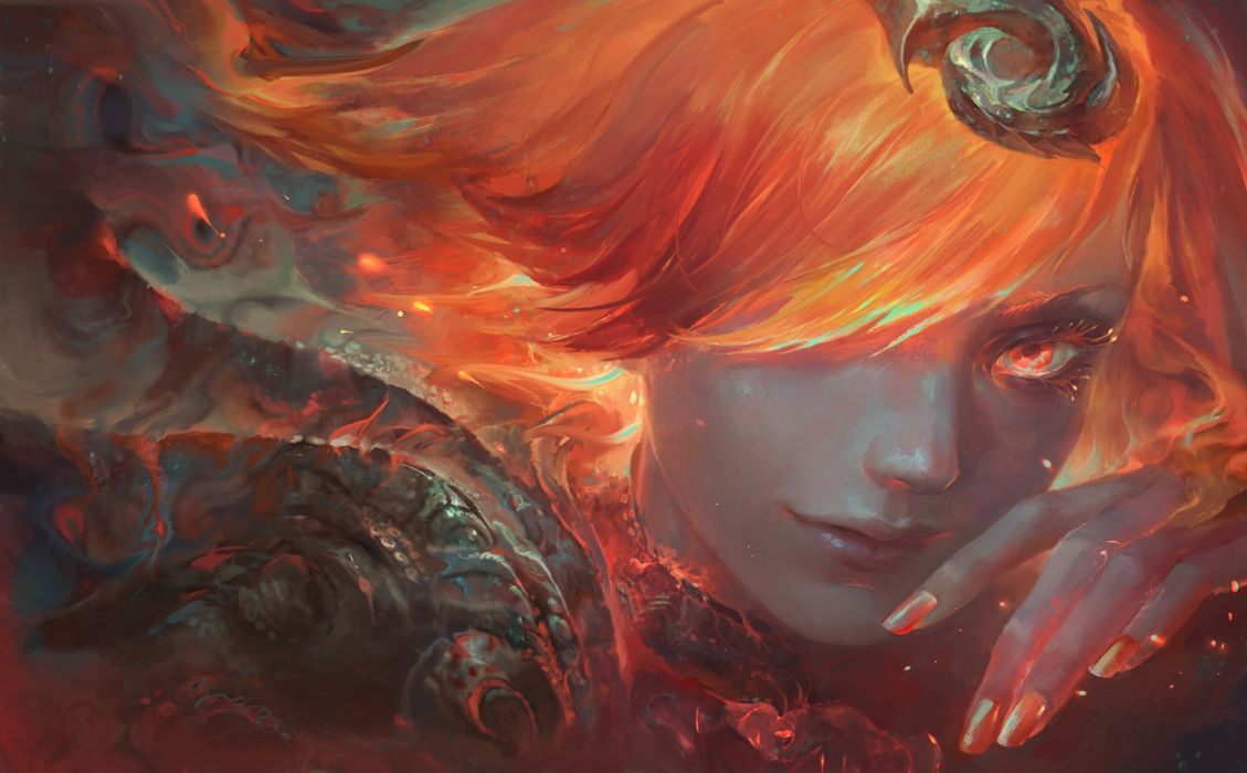 fantasy woman face beautiful red hair wallpaper