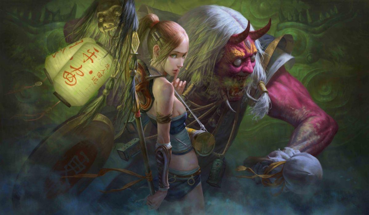fantasy woman face beautiful monster wallpaper