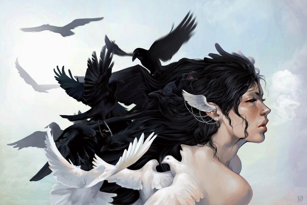 fantasy woman face beautiful birds long hair wallpaper