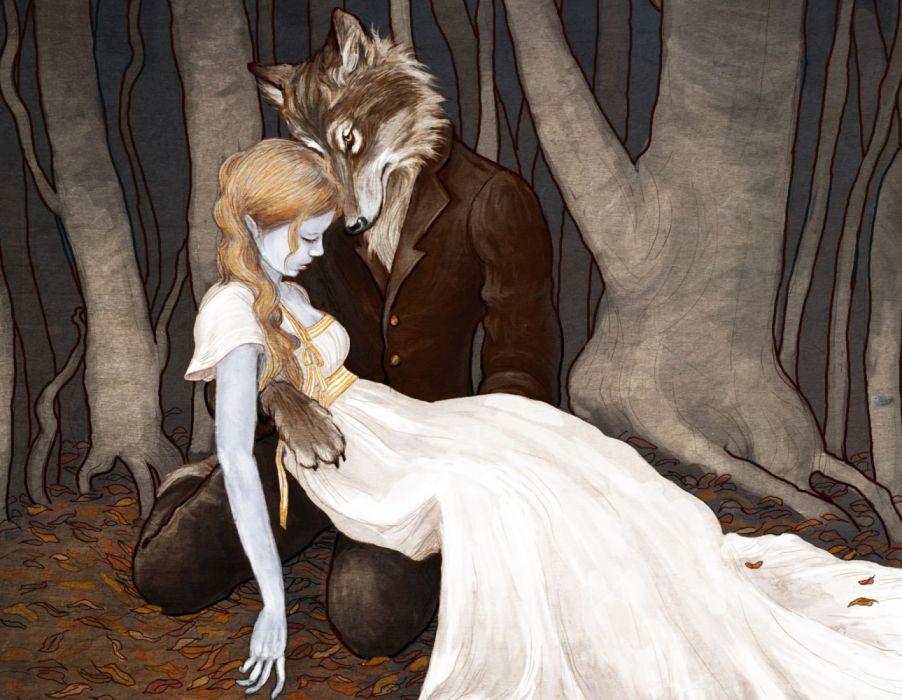 fantasy woman face beautiful forest fox wallpaper