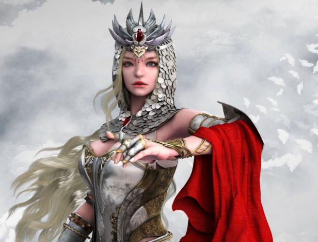 fantasy woman face beautiful blonde long hair blue eyes wallpaper
